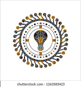 light bulb icon inside arabesque style badge. arabic decoration.