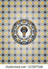 light bulb icon inside arabic badge. Arabesque decoration.