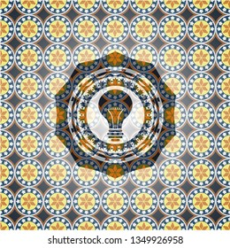 light bulb icon inside arabic emblem. Arabesque decoration.