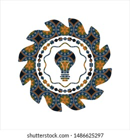 light bulb icon inside arabic badge. Arabesque decoration.