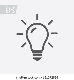 Light bulb icon isolated on white background. Symbol of lighting, electric. Idea sign, thinking concept in flat style for graphic design, Web site, UI. EPS