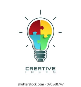 Light bulb icon with jigsaw puzzle pieces inside. Conceptual logo template. Vector illustration.
