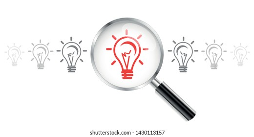 Light bulb icon, lamp. Idea icon. Magnifying Glass. Vector illustration