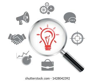 Light bulb icon, lamp. Magnifying Glass. Vector illustration