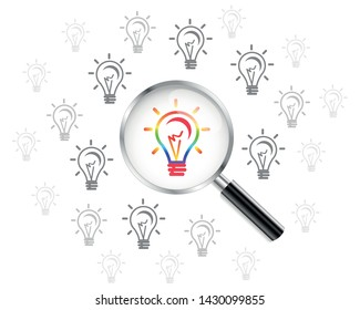 Light bulb icon, lamp. Magnifying Glass. Vector illustration