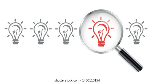 Light bulb icon, lamp. Magnifying Glass. Idea icon. Vector illustration