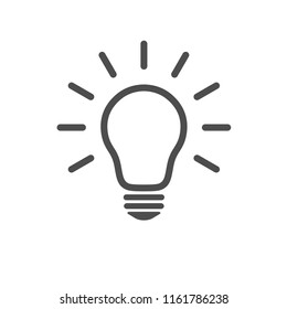Light bulb icon. Line vector in flat style for graphic design isolated on white background. Idea, solution, thinking sign, concept. Lighting electric lamp.
