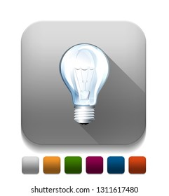 light bulb icon With long shadow over app button