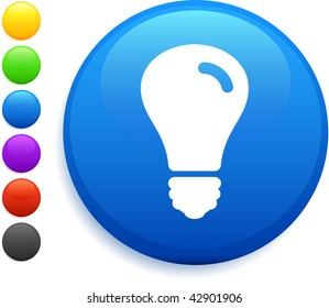 light bulb icon on round internet button original vector illustration 6 color versions included