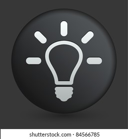 Light Bulb Icon on Round Black Button Collection Original Illustration