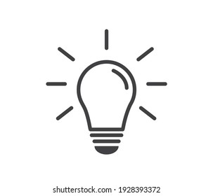 Light bulb icon on white background. Energy and thinking symbol. Creative idea and inspiration concept. Vector illustration