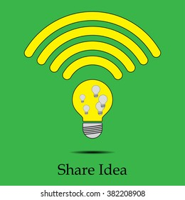 Light bulb icon with share idea concept