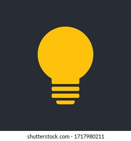 Light bulb icon. Symbol of idea. Solution and thinking concept simple illustration. Electric lamp flat style design.