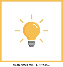 Light bulb icon. Symbol of idea. Solution and thinking concept. Vector illustration.
