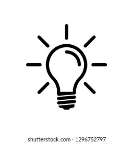light bulb icon symbol vector. on white background