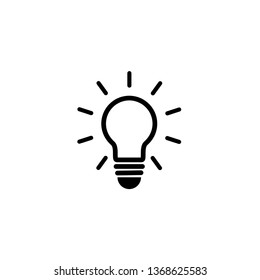 Light Bulb icon vector. Lighting Electric lamp. Electricity, shine. Flat design style  isolated on white background.  Idea sign solution.