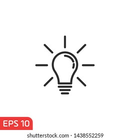 Light bulb icon vector on white background color editable. Lightbulb solution idea and creativity symbol illustration for graphic and web design