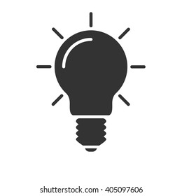 Light bulb icon vector, solid illustration, pictogram isolated on white