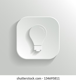 Light bulb icon - vector white app button with shadow