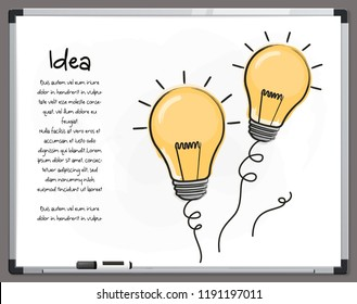 Light bulb icons with concept of idea. Hand drawn signs on whiteboard. Vector.
