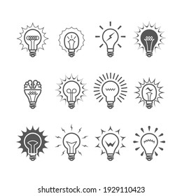 Light bulb icons - idea, innovation and inspiration symbols, vector