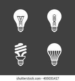 Light bulb icons. Standard, halogen incandescent, fluorescent and LED bulbs. Vector illustration.