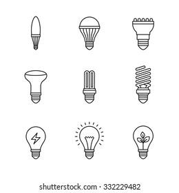 Light bulb icons thin line art set. Black vector symbols isolated on white.