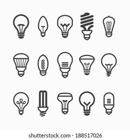 Light bulb icons. Vector.