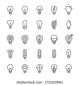 Light bulb and idea 25 line icons vector