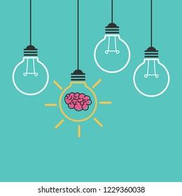 Light bulb idea with brain icon vector