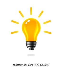 Light bulb idea concept, isolated on white