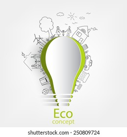 Light bulb idea, creative drawing ecological concepts, With happy family stories, idea, Vector illustration