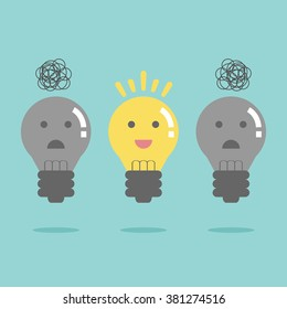 Light bulb idea. Flat design for business financial marketing banking advertisement office people life property stock fund commercial in minimal concept cartoon illustration.
