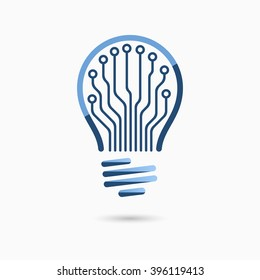 Light bulb idea icon with circuit board inside. Business concept.