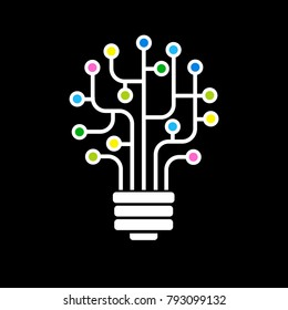 Light bulb idea icon with circuit board inside. Business idea concept. Lamp formed by chip connectors. Bright color image on a black background. The file is saved in the version AI10 EPS.