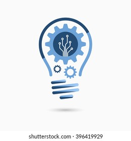 Light bulb idea icon with gears and circuit board inside. Business concept.