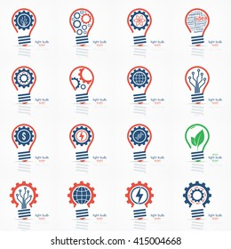 Light bulb idea icons set. Vector illustration.