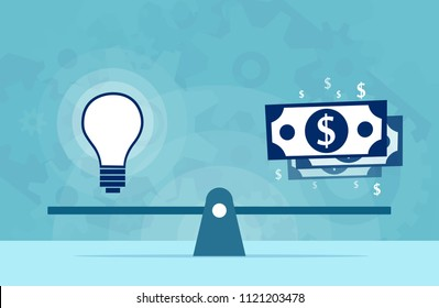 Light bulb idea and money on scales. Vector flat design business concept. Value of intellectual property