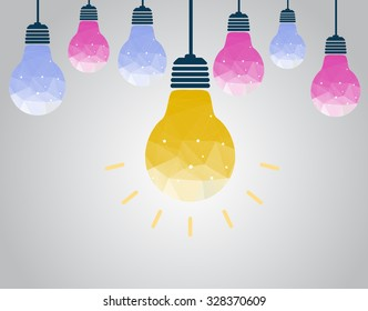 light bulb idea polygon vector illustration