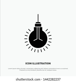 Light, Bulb, Idea, Tips, Suggestion solid Glyph Icon vector