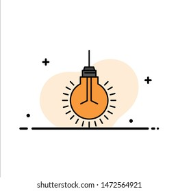 Light, Bulb, Idea, Tips, Suggestion  Business Flat Line Filled Icon Vector Banner Template