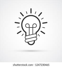 Light Bulb idea trendy style black icon. Vector illustration