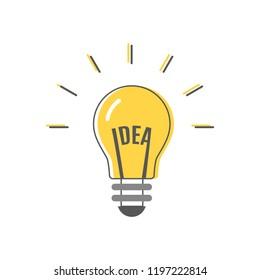 "Light bulb idea. The word ""idea"" in the filament. Vector illustration, flat design"