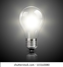 Light bulb illuminated, realistic vector illustration.