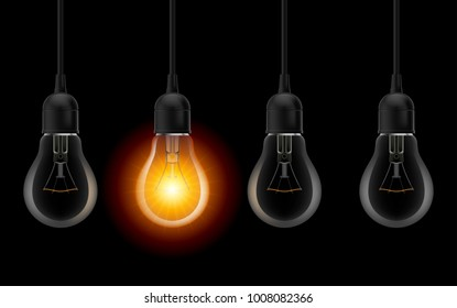 Light bulb illuminated. Stylish Bulbs Conceptual Digital Idea Design Background, Light bulb banner on Dark Background