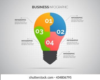 Light bulb infographic .Teamwork concept design.