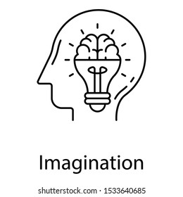 Light bulb inside mind depicting bright mind idea line design