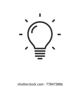 Light bulb lamp icon with shine lines, idea and creativity symbol