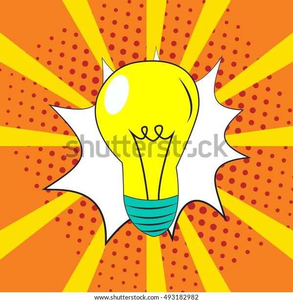 Light bulb lamp pop art style raster illustration. Comic book style