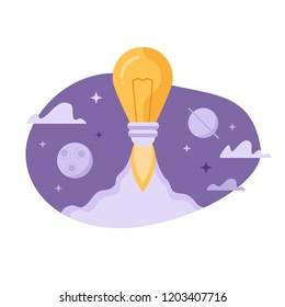 Light bulb launching into space. Flat design vector illustration concept for creativity, imagination, innovation  of  isolated on white background